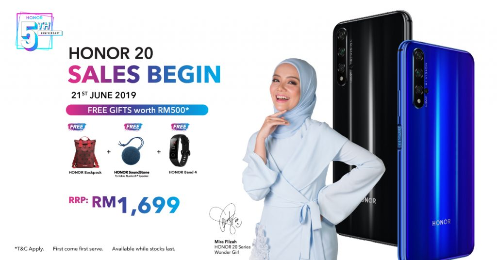 HONOR 20 to be sold in Malaysia on June 21 with RM500 worth of gifts